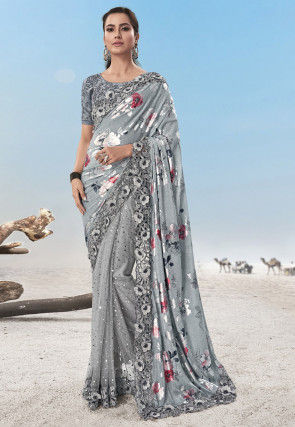 Half N Half Lycra and Net Foil Printed Saree in Grey