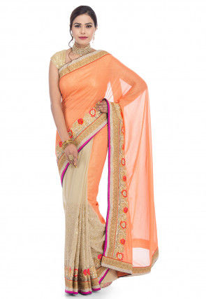 Half N Half Lycra Georgette Saree in Orange and Beige