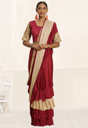 Half N Half Lycra Saree in Beige and Dark Maroon