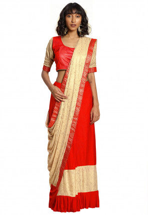 Half N Half Lycra Saree in Beige and Dark Orange