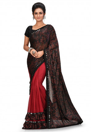 Half N Half Lycra Saree in Black and Red