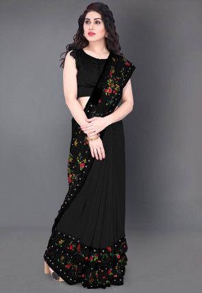 Half N Half Lycra Saree in Black