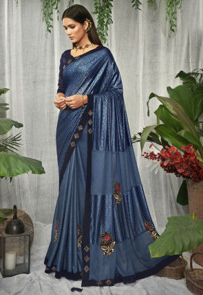 Half N Half Lycra Saree in Blue