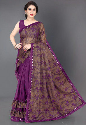 Half N Half Lycra Saree in Brown and Magenta