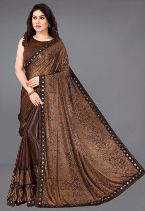 Half N Half Lycra Saree in Brown