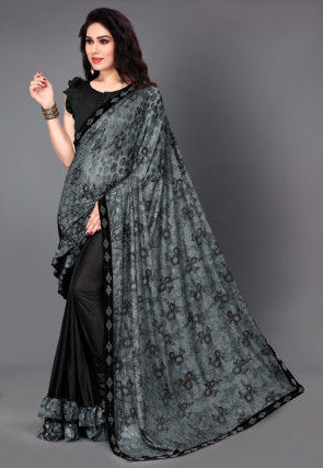 Half N Half Lycra Saree in Grey and Black