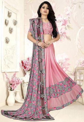 Half N Half Lycra Saree in Grey and Pink