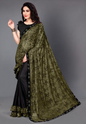 Half N Half Lycra Saree in Olive Green and Black