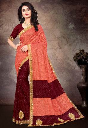 Half N Half Lycra Saree in Peach and Maroon