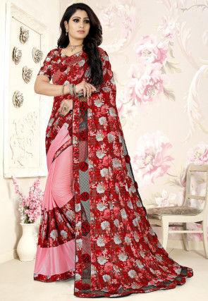 Half N Half Lycra Saree in Red and Pink