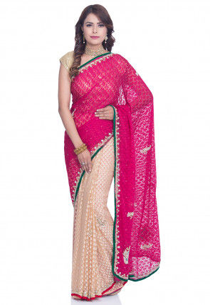 Half N Half Net Brasso Saree in Fuchsia and Beige