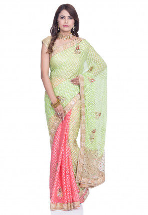 Half N Half Net Brasso Saree in Pastel Green and Coral Pink