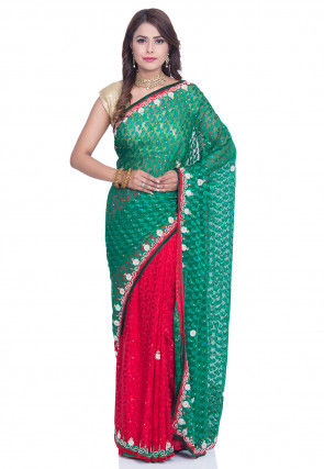 Half N Half Net Brasso Saree in Teal Green and Red
