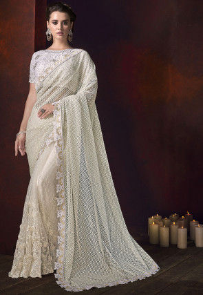 Half N Half Net Jacquard Saree in Off White