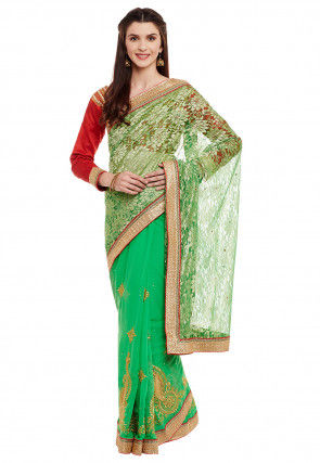 Half N Half Net Saree in Green
