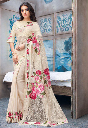 Half N Half Net Saree in Light Beige