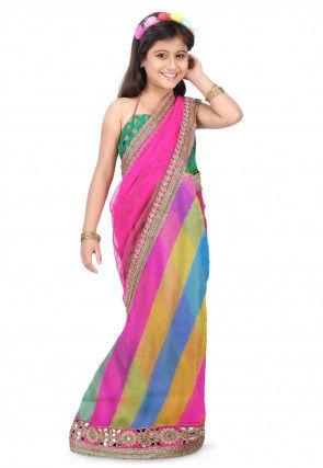 Half N Half Net Saree in Multicolor