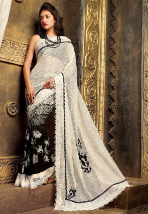 Half N Half Net Saree in Off White and Black