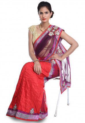 Half N Half Net Saree in Purple and Red
