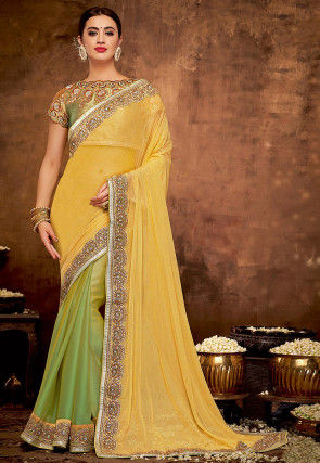 Half N Half Net Saree in Yellow and Light Green