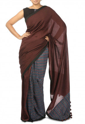 Half N Half Pure Chanderi silk Saree in Brown and Multicolor
