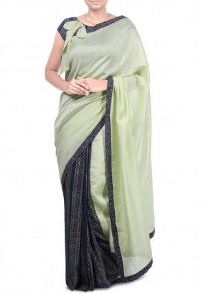 Half N Half Pure Chanderi Silk Saree in Pastel Green and Navy Blue