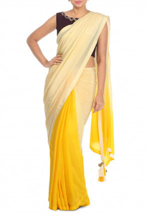Half N Half Pure Crepe Saree in Light Yellow and Yellow