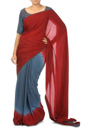 Half N Half Pure Crepe Saree in Shaded Red and Grey