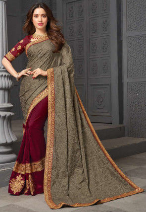 Half N Half Saree Art Silk Saree in Grey and Maroon