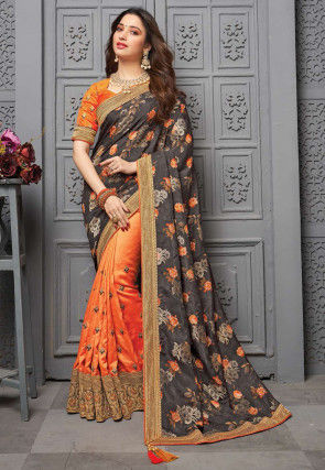 Half N Half Saree Art Silk Saree in Grey and Orange