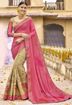Half N Half Satin Chiffon in Pink and Light Beige