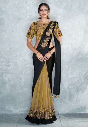 Half N Half Satin Georgette Saree in Black and Antique