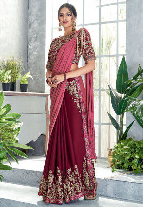 Half N Half Satin Georgette Saree in Old Rose and Maroon