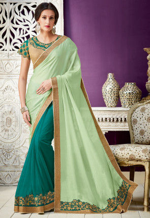 Half N Half Satin Georgette Saree in Pastel Green and Blue