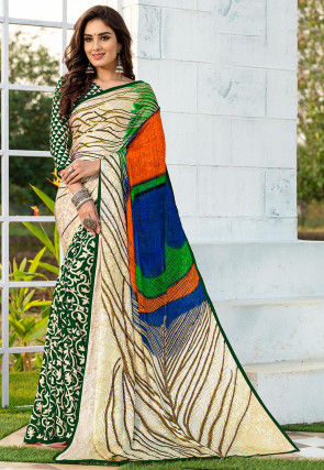 Half N Half Satin Jacquard Saree in Beige and Dark Green