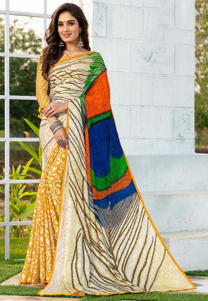 Half N Half Satin Jacquard Saree in Beige and Mustard
