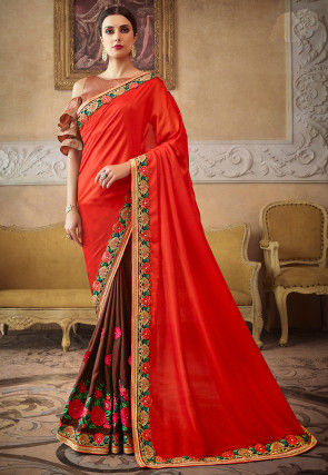 Half N Half Satin Saree in Dark Orange and Brown
