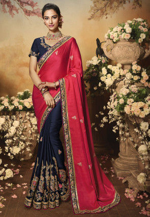Half N Half Satin Saree in Fuchsia and Navy Blue