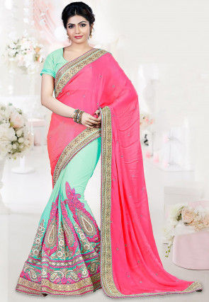 Half N Half Satin Saree in Pink and Sea Green