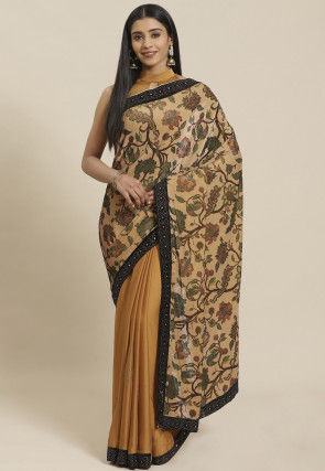 Half N Half Velvet Saree in Beige and Mustard