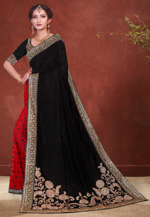 Half N Half Velvet Saree in Black and Red
