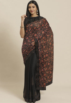 Half N Half Velvet Saree in Black