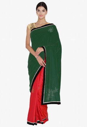 Half N Half Velvet Saree in Dark Green and Red