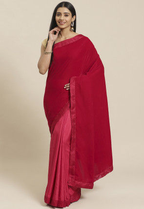 Half N Half Velvet Saree in Fuchsia and Pink