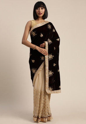 Half N Half Velvet Saree in Maroon and Cream