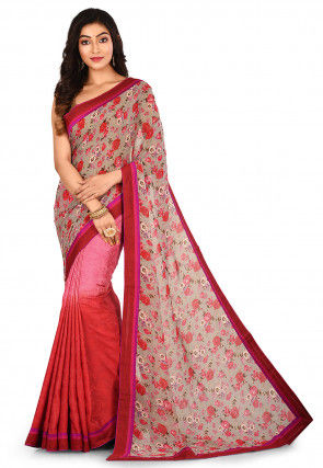 Half N Half Viscose Georgette Saree in Grey and Red