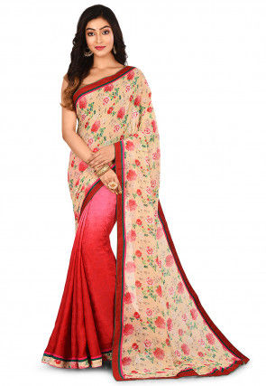 Half N Half Viscose Georgette Saree in Light Yellow and Red
