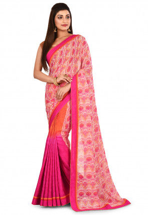 Half N Half Viscose Georgette Saree in Multicolor