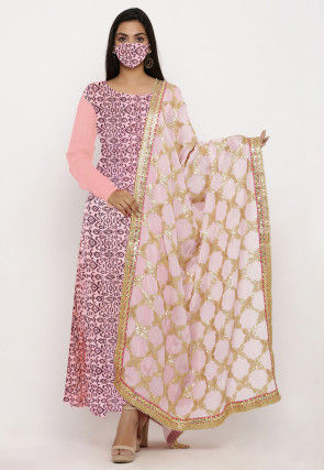 Hand Block Printed Chanderi Cotton Abaya Style Suit in Pink