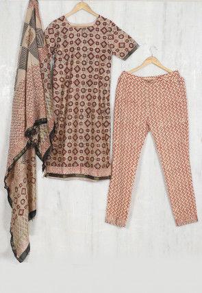 Hand Block Printed Chanderi Cotton Pakistani Suit in Beige